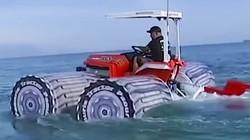 水中行驶的拖拉机 也只能在湖里嘚瑟了 #高科技